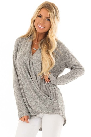 Heather Grey Crossover Top with Long Sleeves front closeup