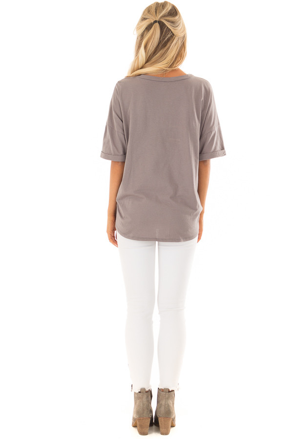 Harbor Grey Comfy Tee Shirt with Front Tie back full body