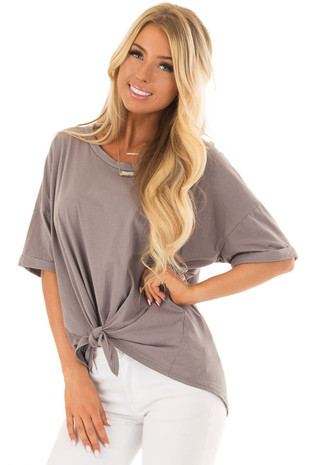 Harbor Grey Comfy Tee Shirt with Front Tie front closeup