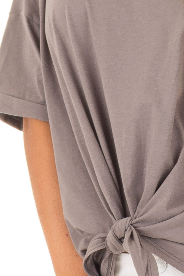 Harbor Grey Comfy Tee Shirt with Front Tie front detail