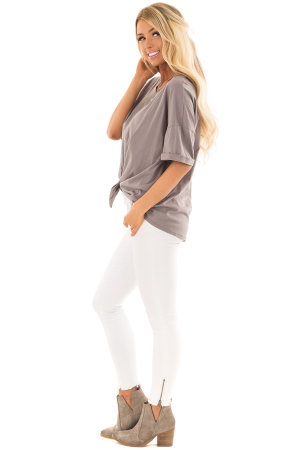 Harbor Grey Comfy Tee Shirt with Front Tie side full body
