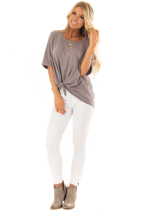 Harbor Grey Comfy Tee Shirt with Front Tie front full body