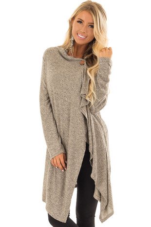 Taupe Two Tone Wrap Cardigan with Asymmetrical Hem front closeup