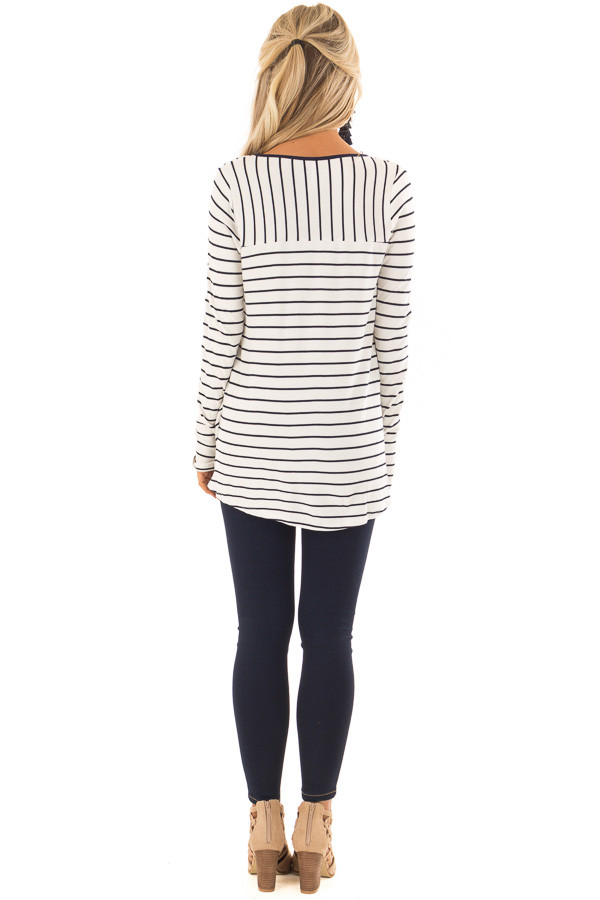 Ivory and Navy Striped Surplice Top with Long Sleeves back full body