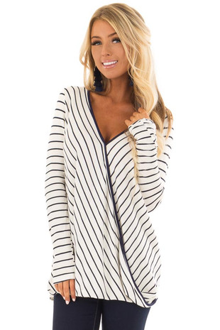 Ivory and Navy Striped Surplice Top with Long Sleeves front closeup