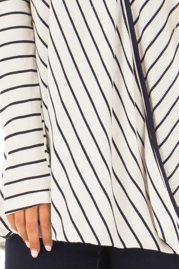 Ivory and Navy Striped Surplice Top with Long Sleeves front detail