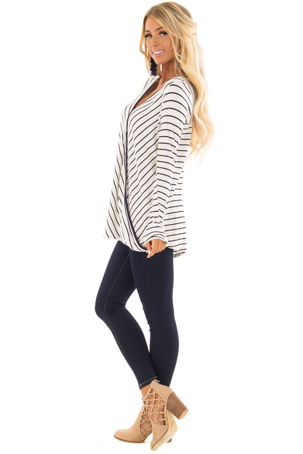 Ivory and Navy Striped Surplice Top with Long Sleeves side full body