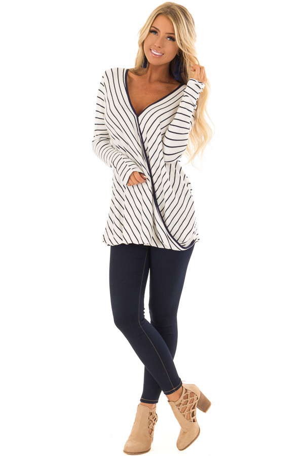Ivory and Navy Striped Surplice Top with Long Sleeves front full body