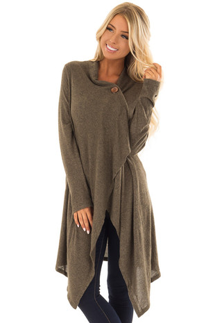 Olive Two Tone Wrap Cardigan with Asymmetrical Hem front closeup