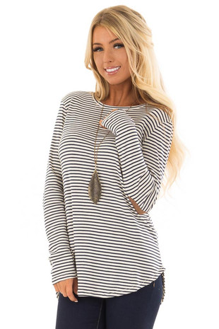 Navy and Ivory Striped Top with Faux Suede Elbow Patches front closeup