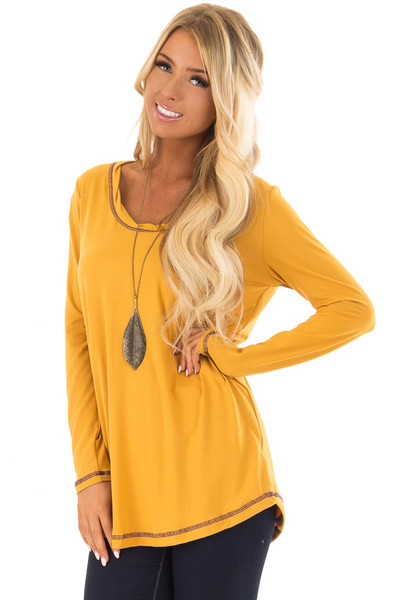Goldenrod High Low Top with Long Sleeves and Purple Contrast front closeup