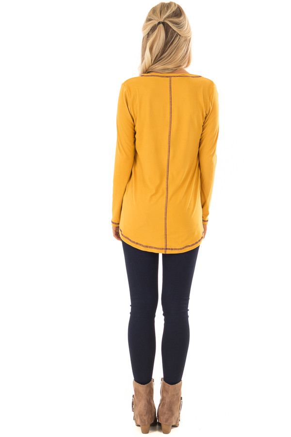 Goldenrod High Low Top with Long Sleeves and Purple Contrast back full body