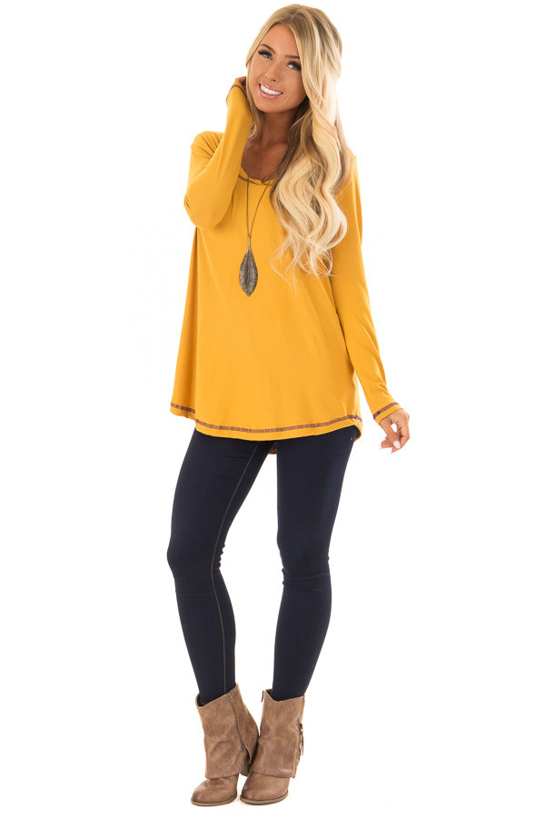 Goldenrod High Low Top with Long Sleeves and Purple Contrast front full body