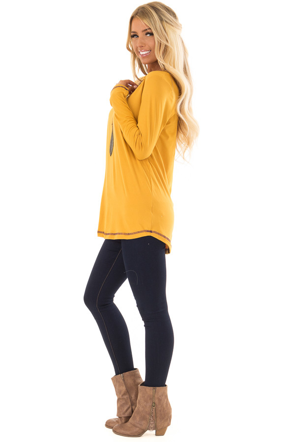 Goldenrod High Low Top with Long Sleeves and Purple Contrast side full body