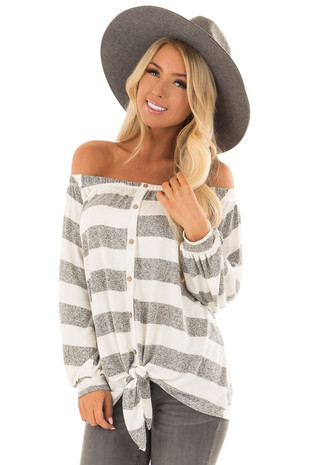 Heather Grey and White Striped Off the Shoulder Top front closeup