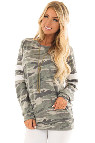 Army Green Camo Long Sleeve Top with White Stripe Detail front closeup