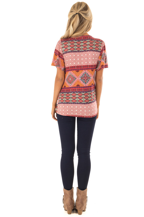 Brick Red Ornate Printed Top with Side Tie back full body