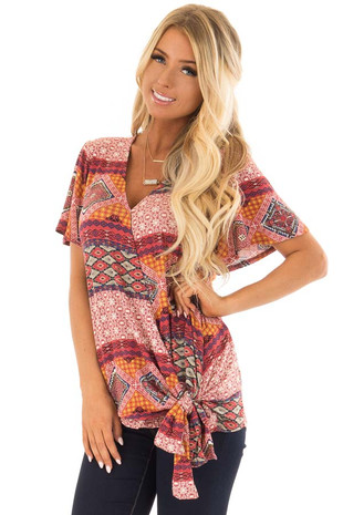 Brick Red Ornate Printed Top with Side Tie front closeup