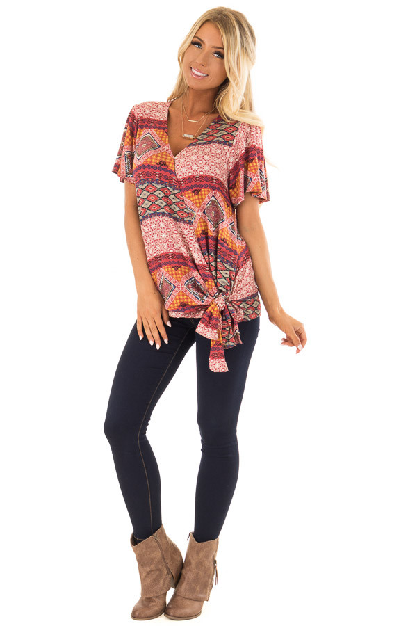 Brick Red Ornate Printed Top with Side Tie front full body