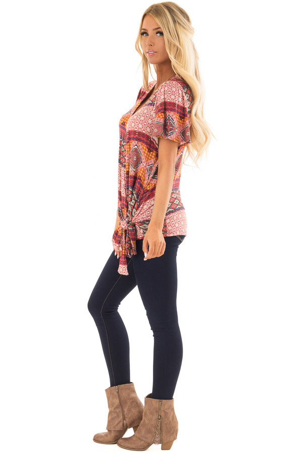 Brick Red Ornate Printed Top with Side Tie side full body