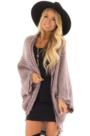 Lavender Two Tone Sweater Cardigan with Dolman Sleeves front closeup