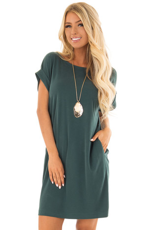 Hunter Green Short Sleeve Dress with Side Pockets front closeup