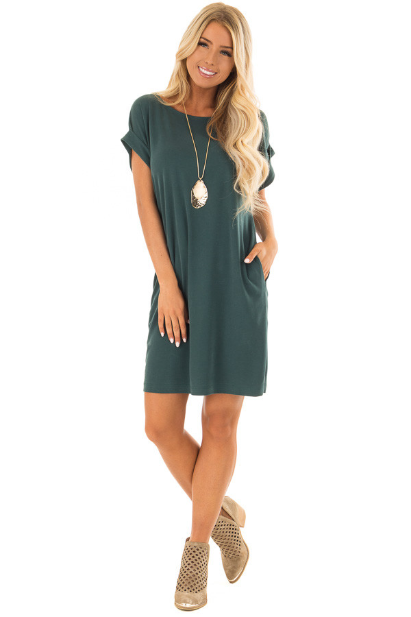 Hunter Green Short Sleeve Dress with Side Pockets front full body