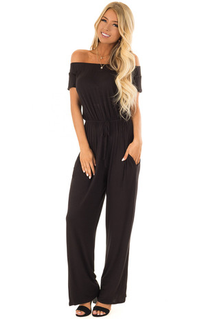 Obsidian Off the Shoulder Jumpsuit with Waist Tie front full body