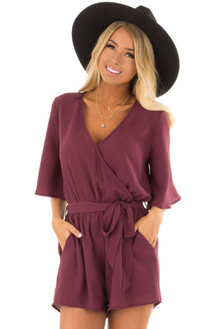 Sangria Romper with Waist Tie and Pockets front closeup