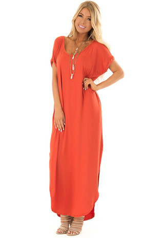 Rust Loose Fit Maxi Dress with Side Slit front full body