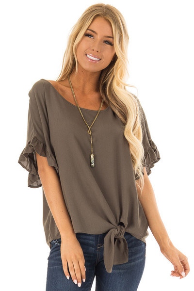 Dark Olive Ruffled Sleeve Blouse with Front Knot Detail front closeup