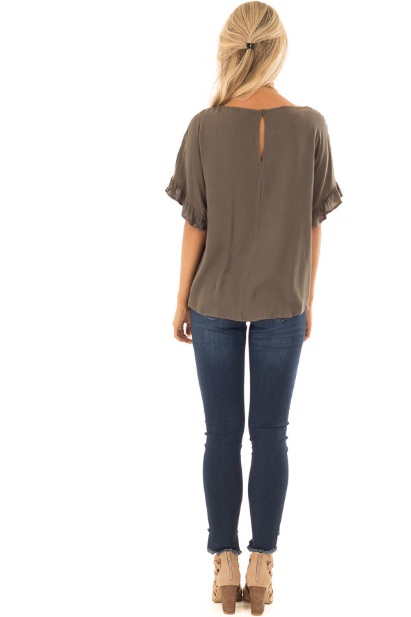 Dark Olive Ruffled Sleeve Blouse with Front Knot Detail back full body