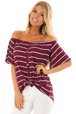 Sangria and Ivory Striped Button Up Off the Shoulder Top front closeup