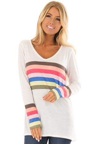 Off White Long Sleeve Top with Rainbow Stripe Detail front closeup