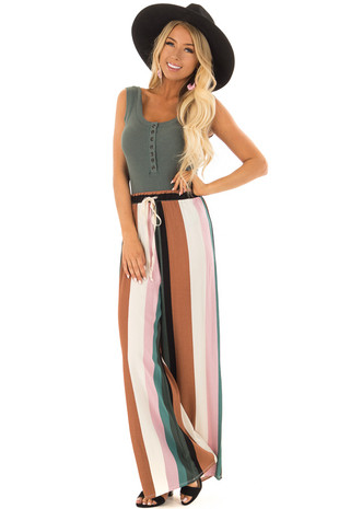 Multicolor Striped Woven Wide Legs Pants front full body