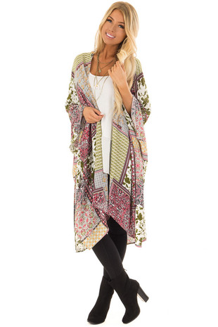 Olive and Cream Patchwork Print Kimono front full body