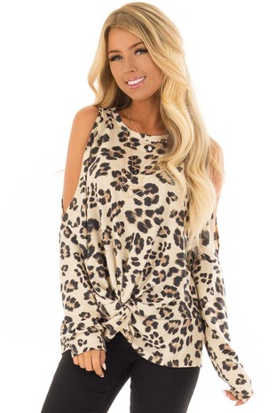 Taupe Leopard Print Cold Shoulder Top with Twist Detail front closeup