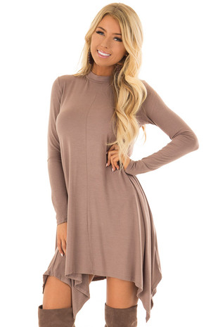 Mocha Long Sleeve Swing Dress with Handkerchief Hem front closeup