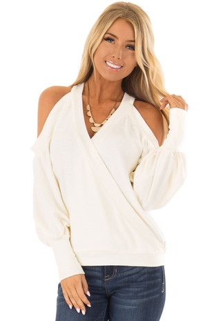 Cream Cold Shoulder V Neck Bishop Sleeve Sweater front closeup