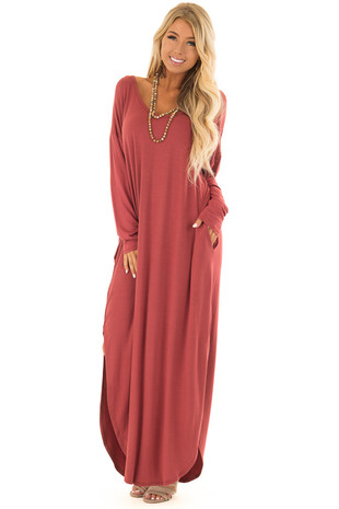 Rust Long Sleeve Maxi Dress with Side Pockets front full body