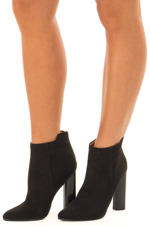 Black Suede Pointed Toe Booties front side