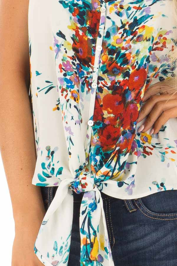 Cream and Crimson Floral Print Top with Front Tie Detail front detail