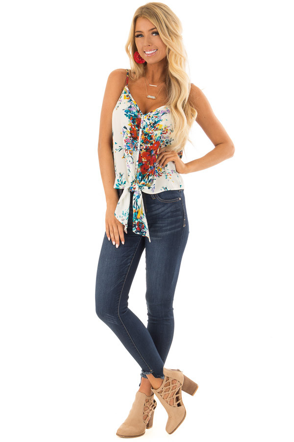 Cream and Crimson Floral Print Top with Front Tie Detail front full body