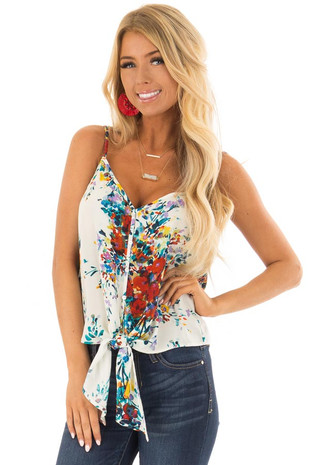 Cream and Crimson Floral Print Top with Front Tie Detail front closeup