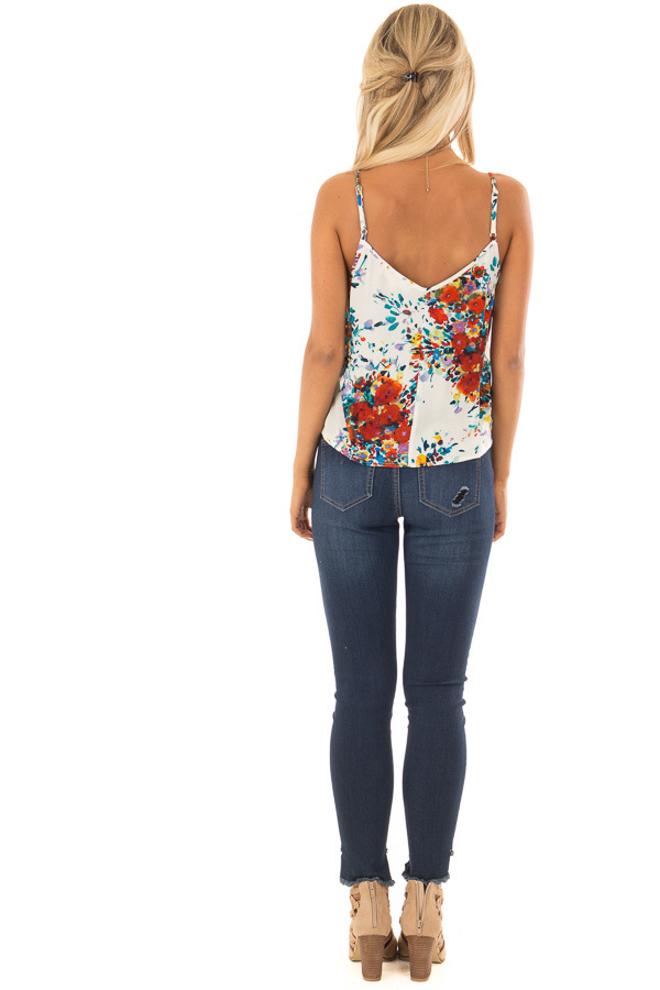 Cream and Crimson Floral Print Top with Front Tie Detail back full body