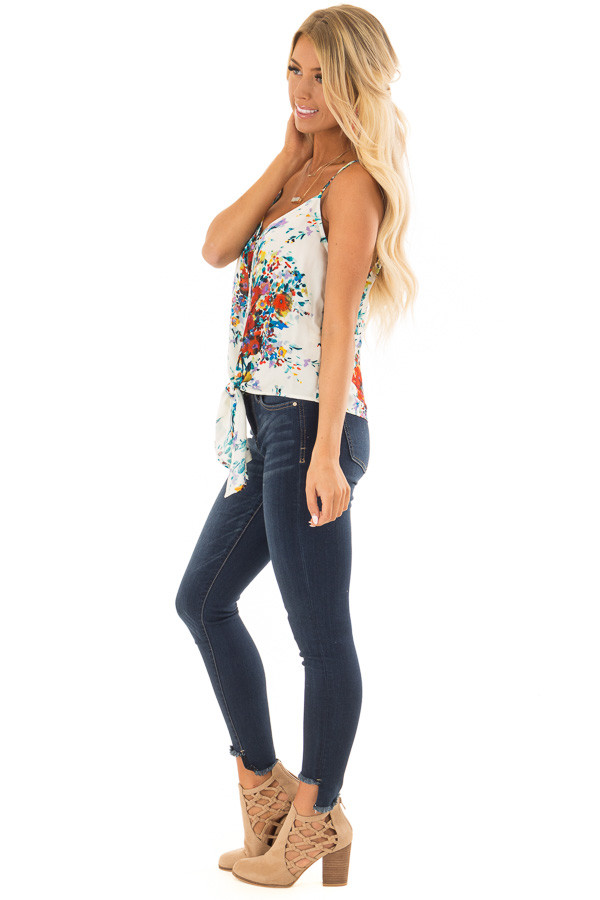 Cream and Crimson Floral Print Top with Front Tie Detail side full body