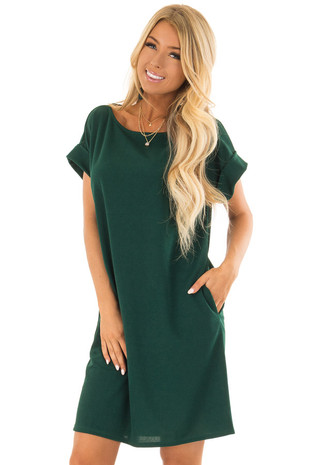 Emerald Short Sleeve Dress with Side Pockets front closeup