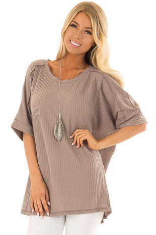 Mocha Half Sleeve Thermal Knit Top with Dropped Shoulder front closeup
