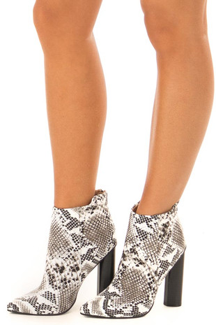 Monochrome Faux Snake Skin Pointed Toe Booties front side