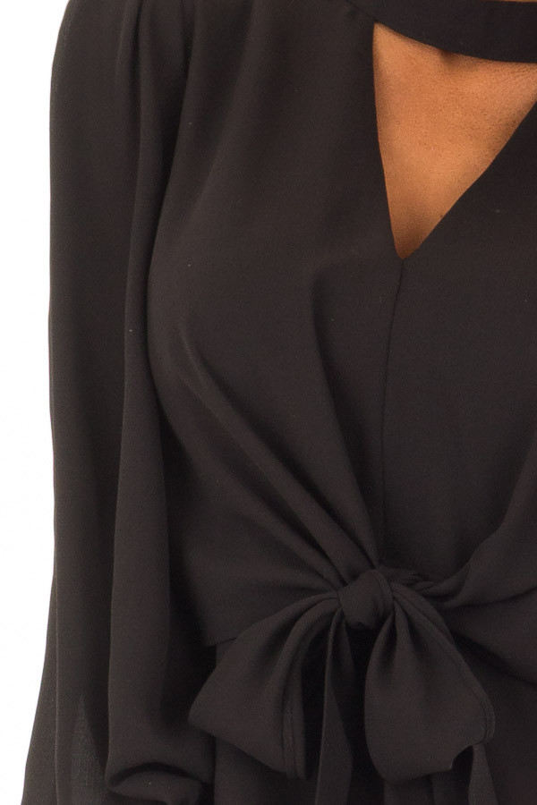 Black Bishop Sleeve Blouse with Front Tie and Choker front detail